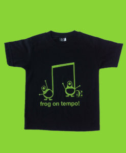 frog tshirt kids - black